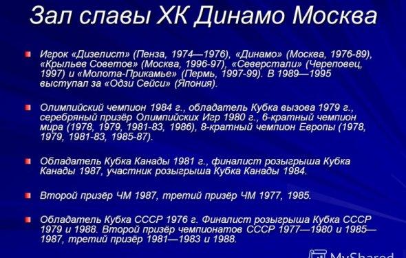 29 Зал славы ХК Динамо Москва